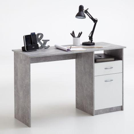 Schreibtisch Jady 123cm - Beton/Weiß