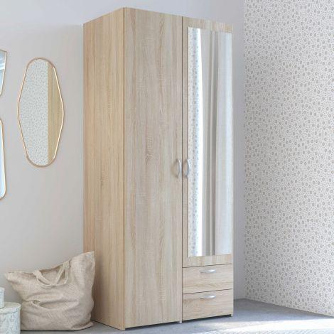 Salvador Spiegelschrank, 2 Türen und 2 Schubladen - Sonoma Eiche