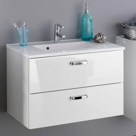 Waschtischunterschrank Bobbi 80cm mit 2 Schubladen und Keramikwaschbecken - weiß