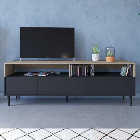 Fernsehschrank Horizon 180cm - Eiche/schwarz