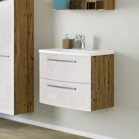 Waschtischunterschrank Gene 60cm 2 Schubladen - wotan eiche/hochglanz-weiß
