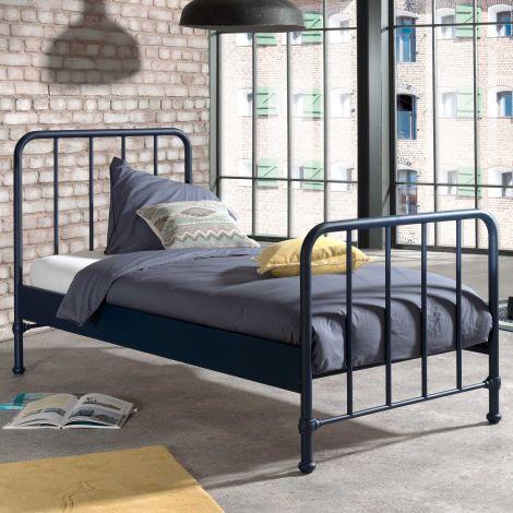 Einzelbett Bronxx Metall 90x200 - matt blau denim