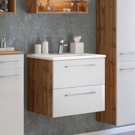 Waschbeckenschrank Sefa 60cm 2 Schubladen - Eiche/Weiß
