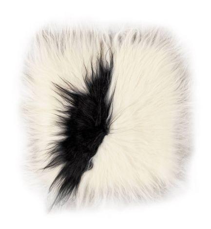 Stuhlkissen Lammfell 37x37 Tierfell, quadratisch Weiß/Schwarz