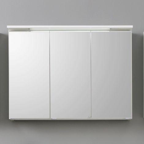 Spiegelschrank Bobbi 100cm Modell 1 3 Türen und LED-Beleuchtung - weiß
