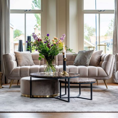Sofa Huxley 230cm Samt - khaki/gold