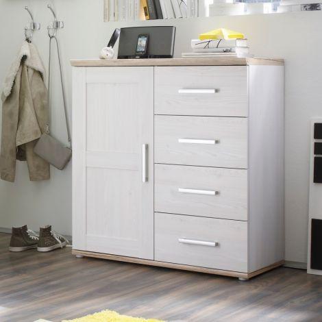 Sideboard Roman 93cm mit Tür und 4 Schubladen - weiß/braun