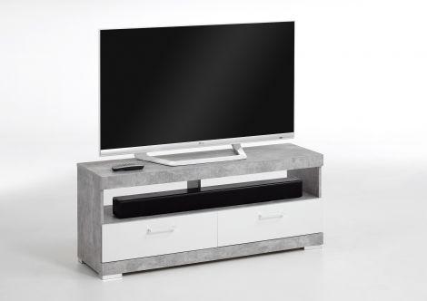 TV-Schrank Cristal 120cm - Beton/Hochglanz weiß