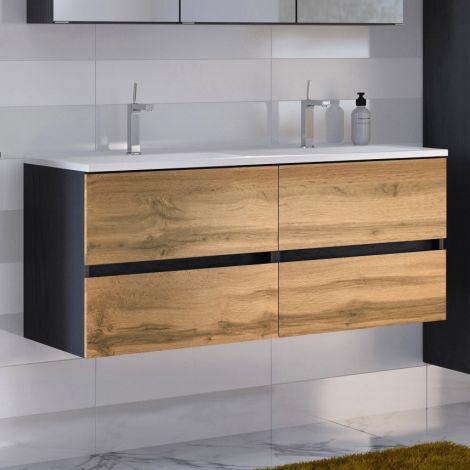 Waschtischunterschrank Luna 120cm mit Doppelwaschbecken und 4 Schubladen - graphit/quecksilber