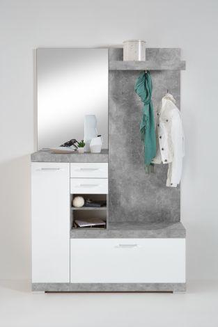 Cristal Garderobenständer - Beton/Hochglanz-weiß