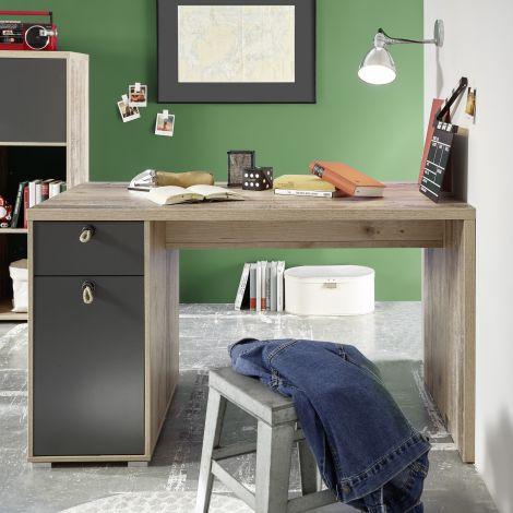 Moleskin Schreibtisch 130 cm mit 1 Tür und 1 Schublade - anthrazit/alter Stil