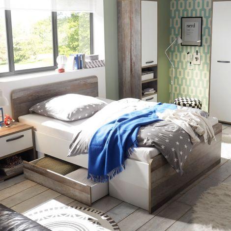 Bett Petrus 140x200 mit 2 Schubladen - weiß/ driftwood