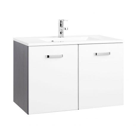 Waschbeckenschrank Bobbi 80cm 2-türig - graphit/hochglanz-weiß