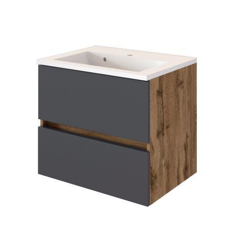 Waschtischunterschrank Luna 60cm 2 Schubladen - Eiche/grau