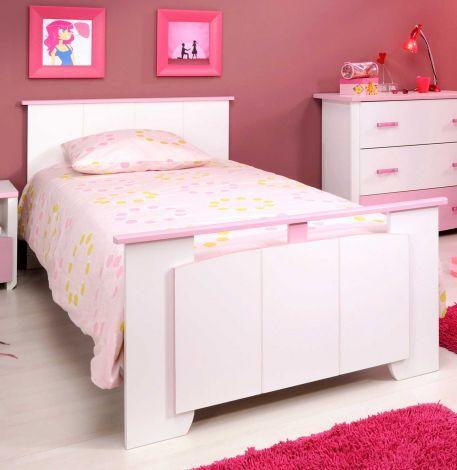 Kinderbett Biotiful girl 90x190 cm - rosa/weiß