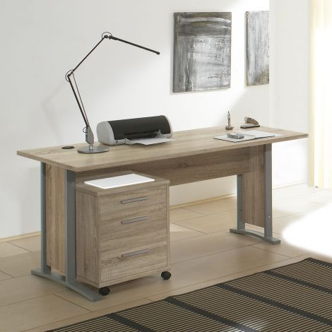 Schreibtisch Olaph 150cm mit Schubladenblock - Eiche
