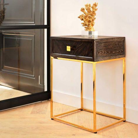 Nachttisch Bony 50cm 1 Schublade - schwarz/gold