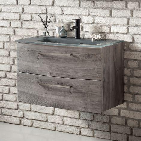 Waschbeckenunterschrank Stivan 80cm grau Waschbecken - Eiche grau