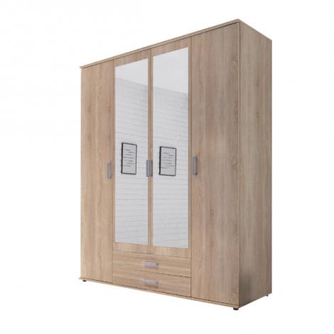 Semina 160cm Kleiderschrank mit 4 Türen 2 Schubladen und Spiegel - Eiche