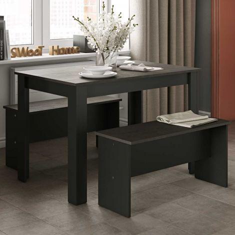 Schöner Esstisch mit Bänken - Schwarz/Beton