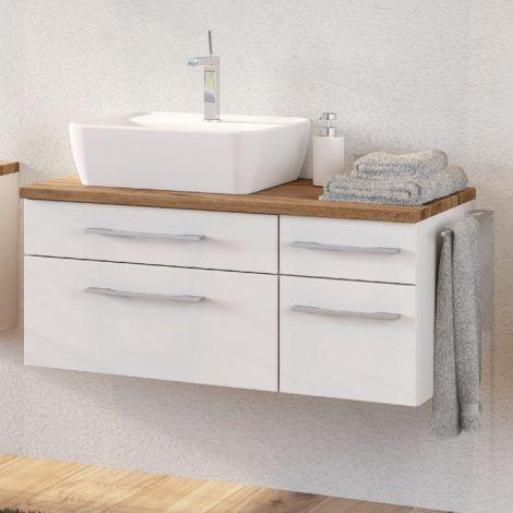 Waschtischunterschrank Dasa (links) 90cm mit 4 Schubladen - weiß