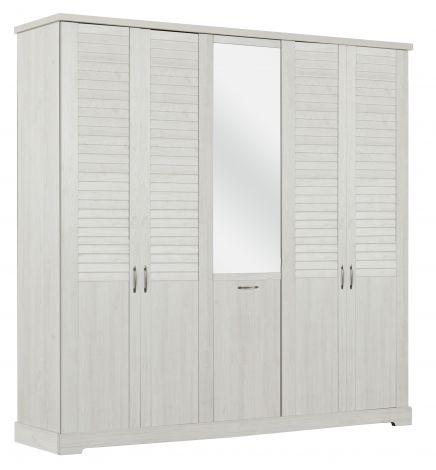 Kleiderschrank Wanda 230 cm 5 Türen und Spiegel - Weißkastanie