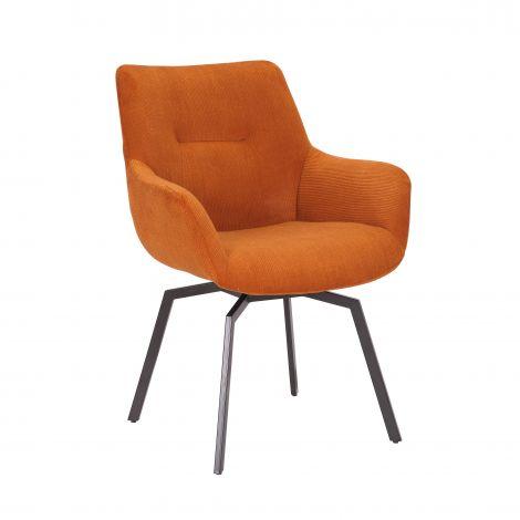 Drehstuhl Modesta - gerippter Samt orange