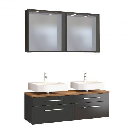 Doppelwaschtisch-Unterschrank mit Spiegel Dasa 120cm 4 Schubladen - graphit/mattgrau
