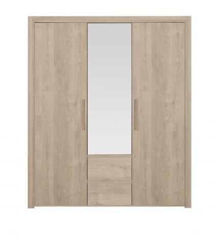 ABBY - Armoire 3 portes 2 tiroirs Chêne blond