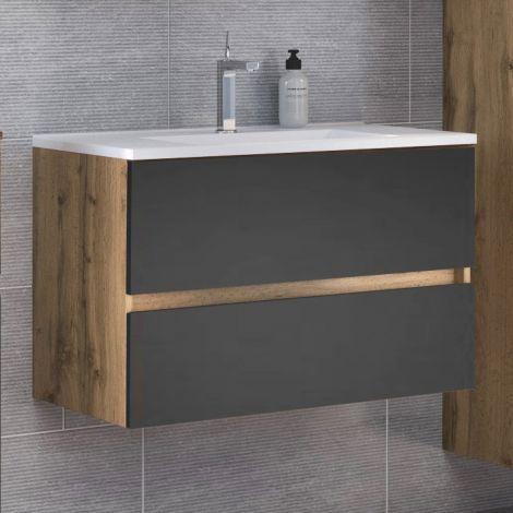 Waschtischunterschrank Luna 80cm 2 Schubladen - Eiche/grau