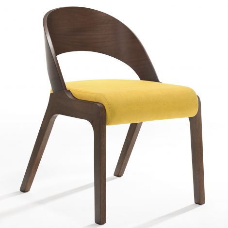 2er-Set Stühle Ulrike - Nussbaum/gelb