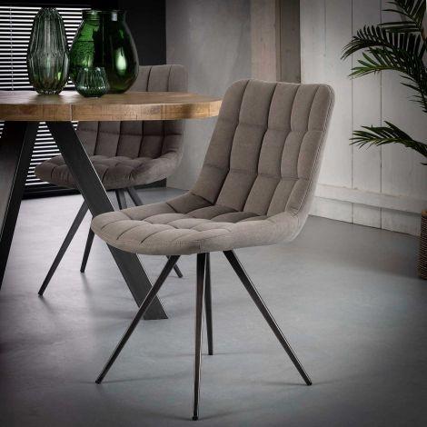 Stuhl Gitter vierkantrohr - Set von 2 - Jeans Anthrazit