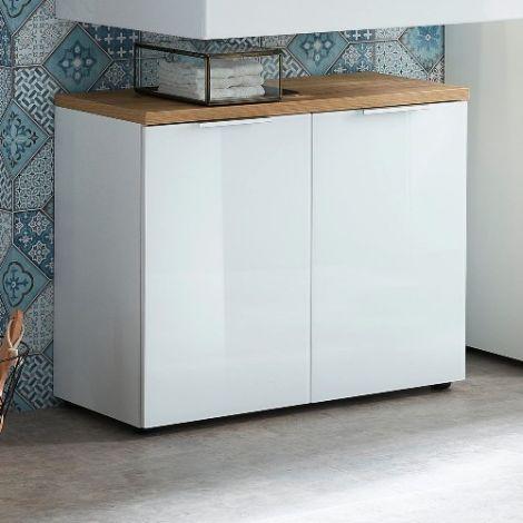 Waschbeckenschrank Sepp mit 2 Türen - weiß/Eiche