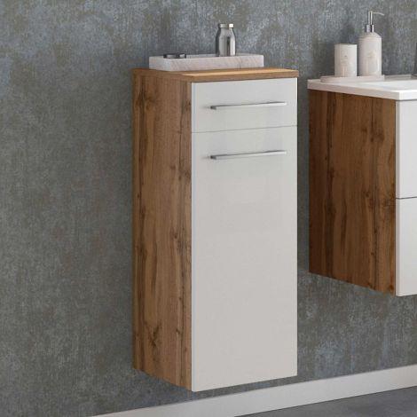 Badezimmerschrank Sefa 30cm 1 Tür und 1 Schublade - Eiche/Weiß