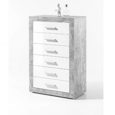 Kommode Stanno 66cm mit 6 Schubladen - Beton/Weiß