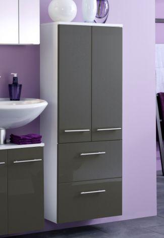Badezimmerschrank Small 50cm 2 Türen und 2 Schubladen - hochglanz-grau