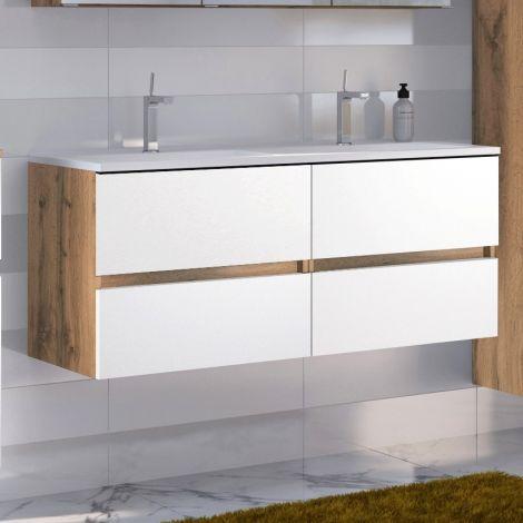 Waschbeckenschrank Luna 120cm mit Doppelwaschbecken und 4 Schubladen - Eiche/Weiß