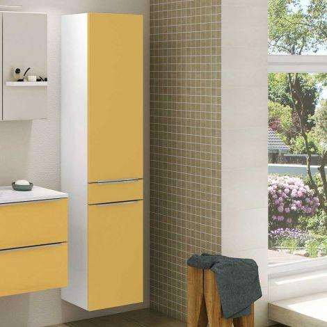 Säulenschrank Hansen 40cm 2 Türen und 1 Schublade - gelb/weiß