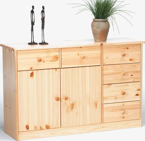 Sideboard MARIO 026 - Sideboard with 2 doors and 6 drawers - NATURAL LACQUER