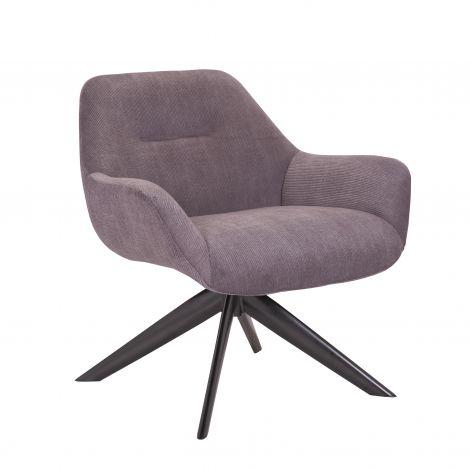 Drehstuhl Francesca - gerippter Samt grau