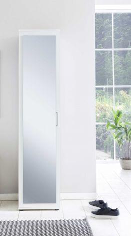 Dielen- und Allzweckschrank mit 1 Tür und Frontspiegel - Beton Melamin Dekor