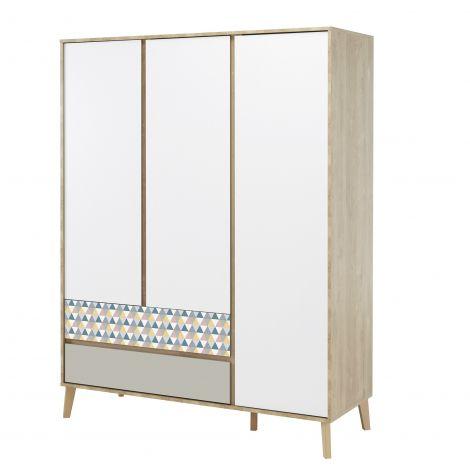Kleiderschrank Lina 153cm mit 3 Türen - braun/weiß