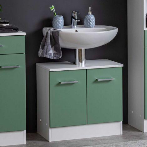 Waschbeckenschrank Ricca 60cm 2 Türen - weiß/grün