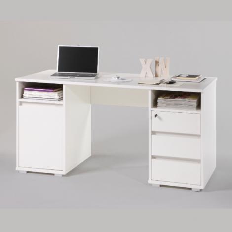 Schreibtisch Primos 145cm mit 3 Schubladen und 1 Tür - weiß