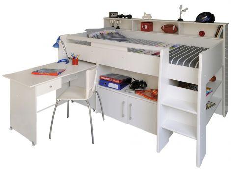 Halbhochbett mit Schreibtisch Swan
