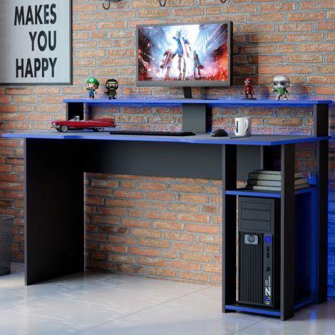 Gaming-Schreibtisch Marquis 136cm - schwarz/blau