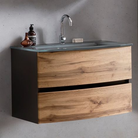 Waschbeckenunterschrank Kornel 80cm grau Waschbecken - graphitgrau/eiche