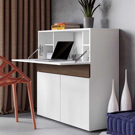 Schreibtisch/Aufbewahrungsschrank Fox 110cm - weiß/Walnuss