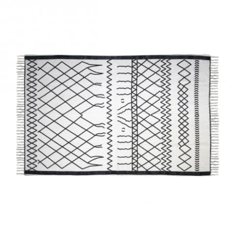 Teppich Boha 120x70 Baumwolle schwarz/weiss