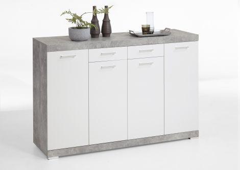 Sideboard Cristal 160x109x50 - Beton/Weiß